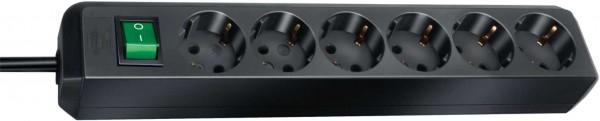Brennenstuhl Eco-Line Steckdosenleiste mit Schalter 6-fach 1,5m Kabel schwarz