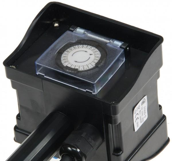 ChiliTec Gartensteckdose mit Erdspieß, 2-fach IP44, 2m Kabel, Zeitschaltuhr