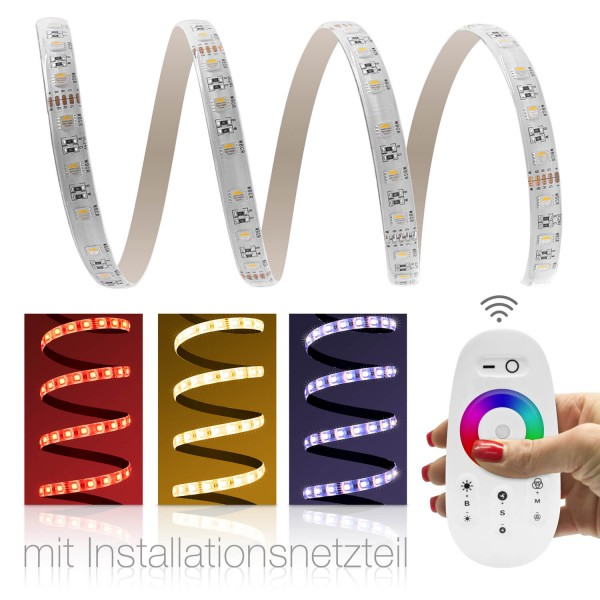 24V LED Streifen Set   RGBW 4in1   Trafo und Fernbedienung   opt Netzkabel   1 bis 15m wählbar  IP65