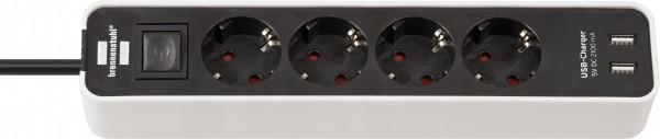 Brennenstuhl Ecolor Steckdosenleiste 4-fach mit USB-Ladebuchse (Steckerleiste mit 2x USB Charger, Sc