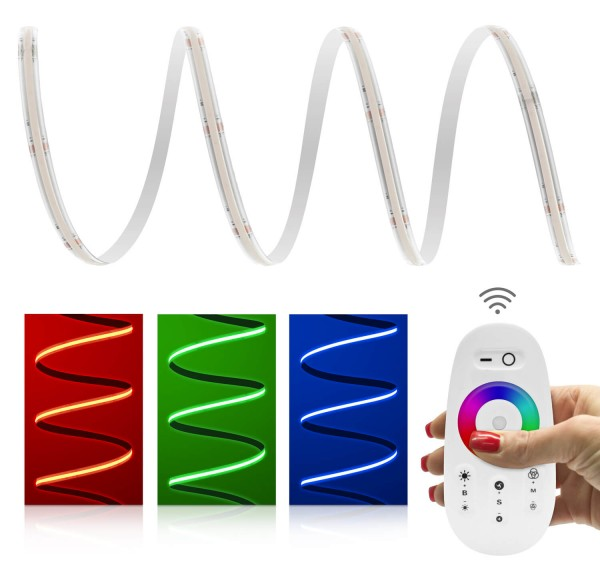 Premium 24V RGB COB LED Streifen IP65 Funk-Set weiß & Netzteil