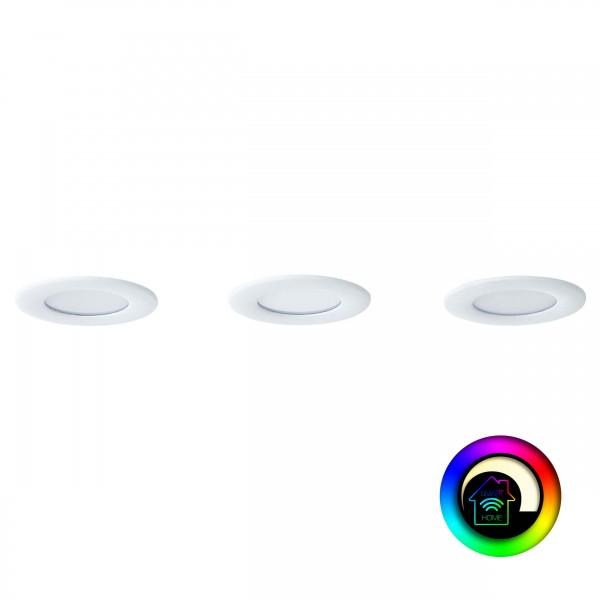 Brilliant G94693/05 Tanel WiZ Einbauleuchtenset: 3 Stück, fest Metall/Kunststoff - weiß