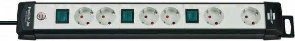 Brennenstuhl Premium-Line, Steckdosenleiste 6-fach (Steckerleiste mit 3 Schaltern und 3m Kabel - 45°