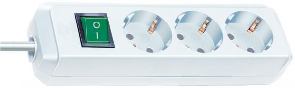Brennenstuhl Eco-Line Steckdosenleiste mit Schalter 3-fach 3m Kabel weiß
