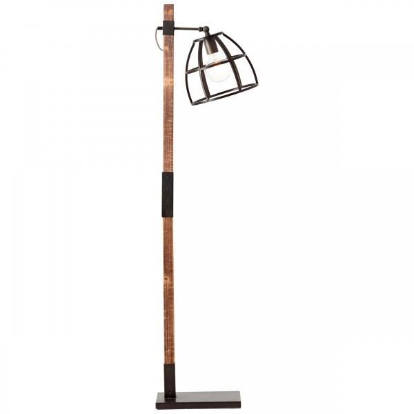 99136/46 Matrix Wood Standleuchte, 1-flammig Metall/Holz schwarz stahl/holz