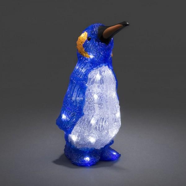 Konstsmide 6142-203 | LED Acrylfigur Pinguin | Batteriebetrieben | 24 kaltweiße LEDs