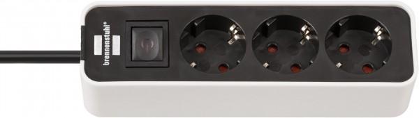 Brennenstuhl Ecolor Steckdosenleiste 3-fach (Steckerleiste mit Schalter und 1,5m Kabel) schwarz/weiß