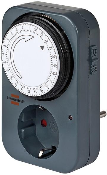 Brennenstuhl mechanische Zeitschaltuhr Timer-Steckdose mit Kindersicherung grau