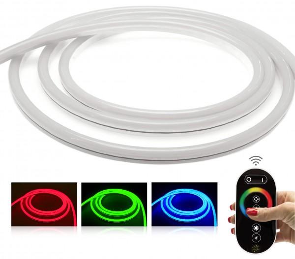 24V LED NeonFlex Streifen Set | RGB | Trafo und Fernbedienung | 1 bis 10m wählbar | IP68