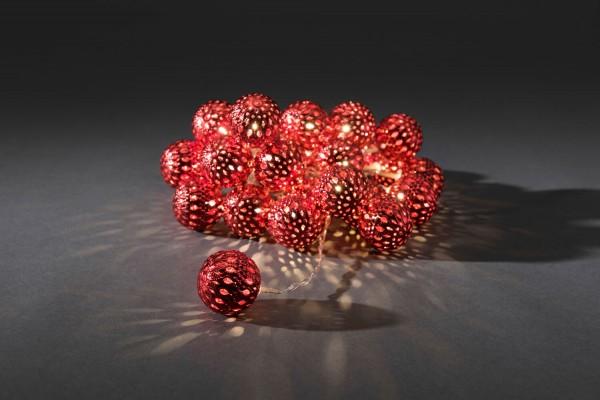 Konstsmide 3156-553 | LED Deko Lichterkette | Metallkugeln rot | 24 warmweiße LEDs | Innen