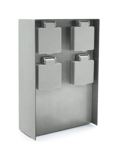 Außensteckdose 4 Steckplätze silber