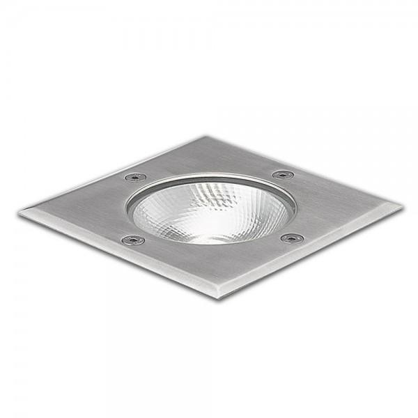 ISOLED 112214 LED Bodeneinbaustrahler, quadr. Edelstahl, IP67, 7W COB, 90°, warmweiß