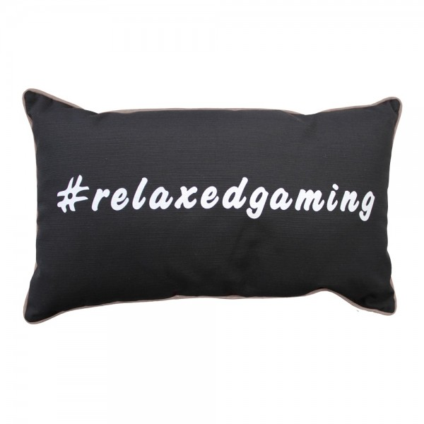 "Gamewarez Gaming Kissen Cosmic Pillow ""#relaxedgaming"", schwarz, grauer Keder, 30x50cm"