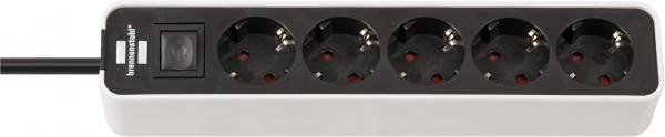 Brennenstuhl Ecolor Steckdosenleiste 5-fach (Steckerleiste mit Schalter und 1,5m Kabel) schwarz/weiß