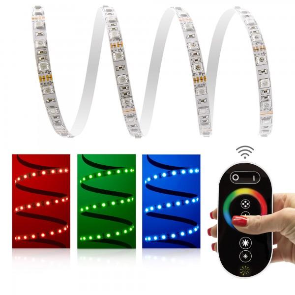 12V LED Streifen Set | RGB | Trafo und Fernbedienung | 1 bis 10m wählbar | IP20