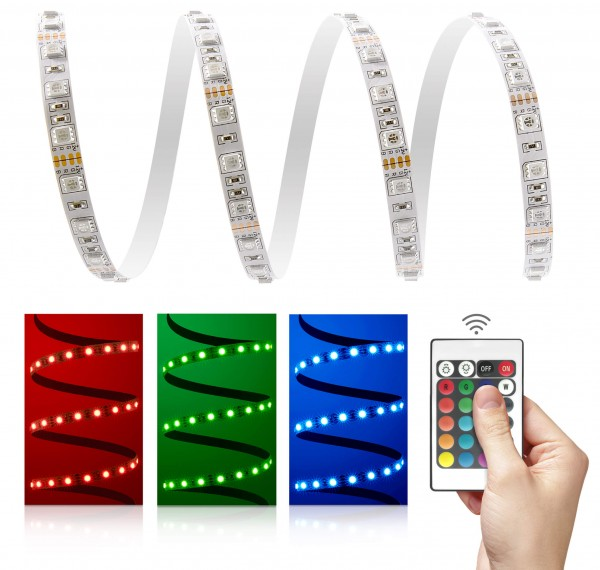 12V LED Streifen Set | RGB | Trafo und Fernbedienung | 1 bis 5m wählbar | IP20