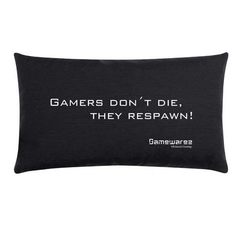 """Gamewarez Gaming Kissen """"Gamers don´t die, they respawn!"""", schwarz, 30x50cm"""