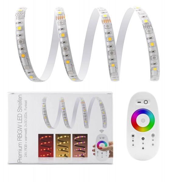 24V LED Streifen Set | RGBW | Trafo und Fernbedienung | 1 bis 10m wählbar | IP65