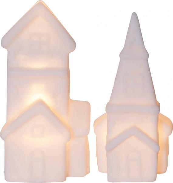 """Best Season 990-08 LED-Häuser """"Polly"""", 2er Set, weiß,"""