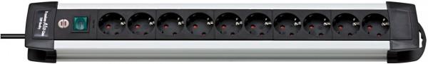 Brennenstuhl Premium-Alu-Line 10-fach Steckdosenleiste Schalter 3m Kabel schwarz