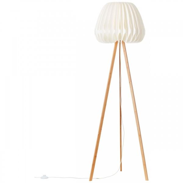 Brilliant 93047/75 Inna Standleuchte, dreibeinig Bambus/Kunststoff holz hell/wei?