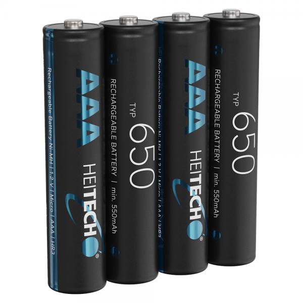 Heitech 650 Akku AAA Micro - 4× NiMH Wiederaufladbare Batterien mit min. 550mAh & 1,2V