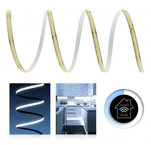 24V COB LED Streifen Smart Home-Set | kaltweiß | inkl Zigbee Controller & Netzteil | 1-7m | IP20