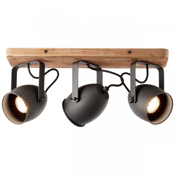 47330/76 Crowton Spotbalken, 3-flammig Metall/Holz kohlenschwarz/holz