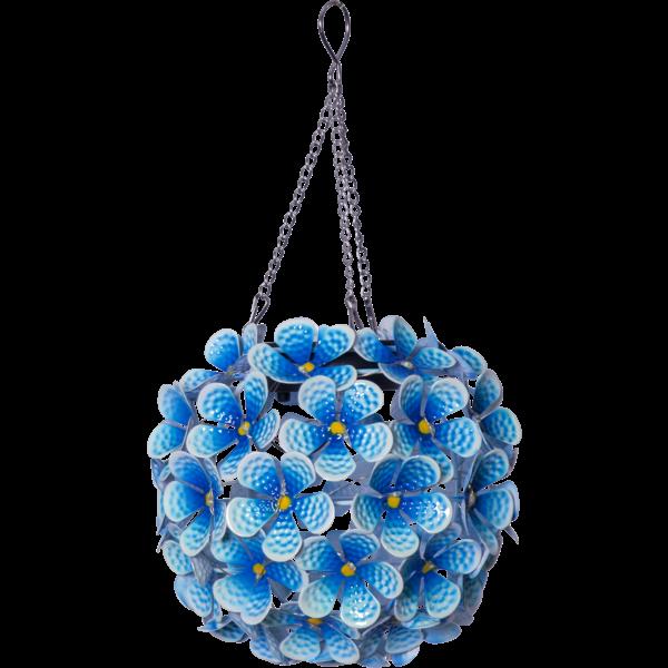 "481-58 LED-Solardeko ""Hortensia"", mit Aufhänger, blau"