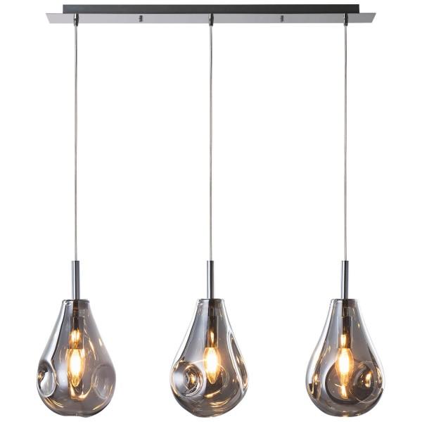 Brilliant 99289/93 Drops Pendelleuchte, 3-flammig Glas/Metall rauchglas/chrom