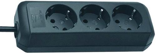 Brennenstuhl Eco-Line, Steckdosenleiste 3-fach (1,5m Kabel - besonders stromsparend) schwarz