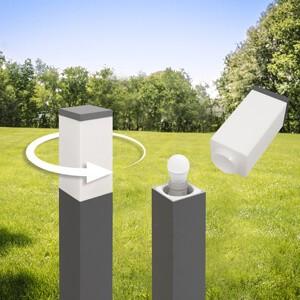 LED Universum LED Wegeleuchte mit 2 Steckdosen silber