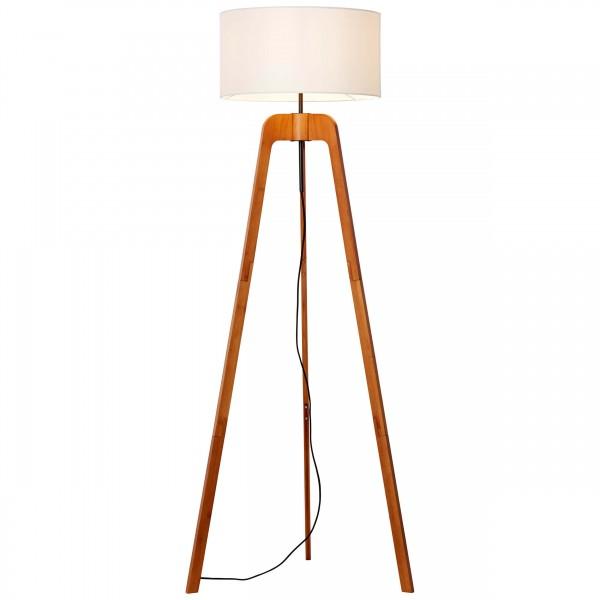 Brilliant 93048/70 Nola Standleuchte, dreibeinig Bambus/Textil holz dunkel/wei?