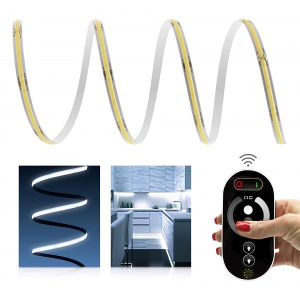 24V COB LED Streifen Funk-Set | kaltweiß | inkl Fernbedienung & Netzteil 72W | 1 - 7m | IP20