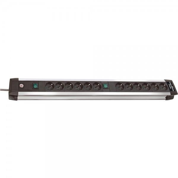 Brennenstuhl Premium-Alu-Line 12-fach Steckdosenleiste 2 Schalter 3m Kabel schwarz