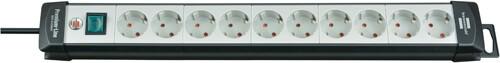 Brennenstuhl Premium-Line, Steckdosenleiste 10-fach (Steckerleiste mit Schalter und 1,8m Kabel - 45°