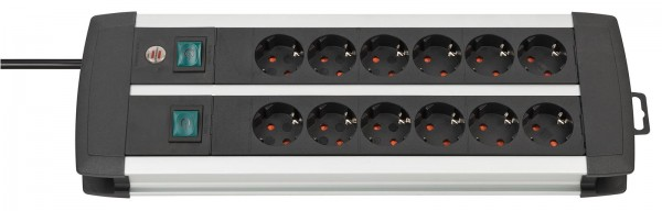 Brennenstuhl Premium-Alu-Line Technik Steckdosenleiste 12-fach Duo schwarz 3m H05VV-F 3G1,5