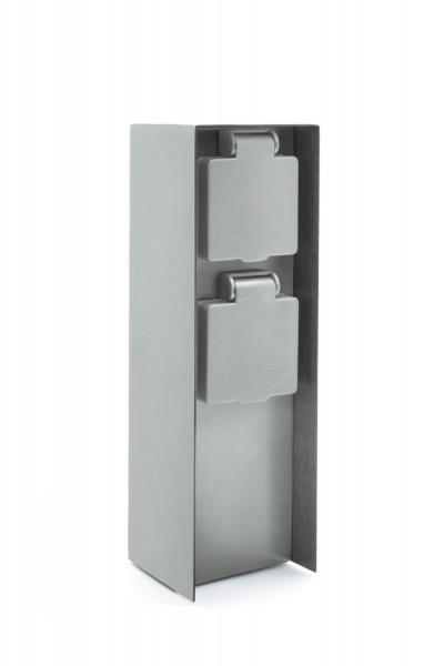LED Universum Außensteckdose 2 Steckplätze silber