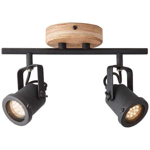 HK18996S76 Inge Spotrohr, 2-flammig Metall/Holz holz dunkel/schwarz