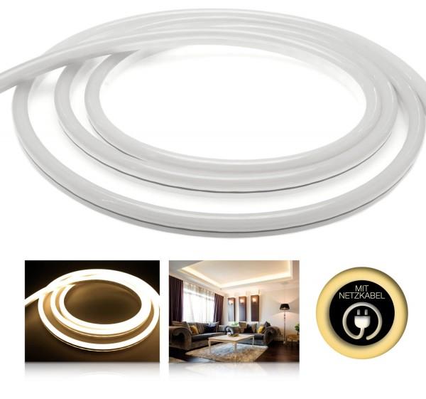 230V LED NeonFlex Streifen Set | warmweiß | Netzkabel opt 3 Längen | 1 bis 50m wählbar | IP66