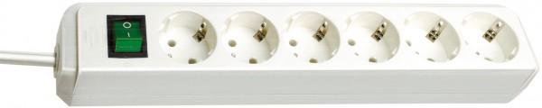 Brennenstuhl Eco-Line Steckdosenleiste mit Schalter 6-fach 3m Kabel weiß