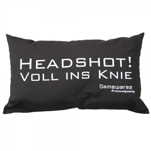 """Gamewarez Gaming Kissen """"Headshot! Voll ins Knie"""", schwarz, 30x50cm"""