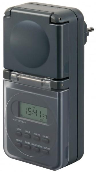 Brennenstuhl Digitale Wochenzeitschaltuhr IP44, digitale Timer-Steckdose (Wochen-Zeitschaltuhr, für