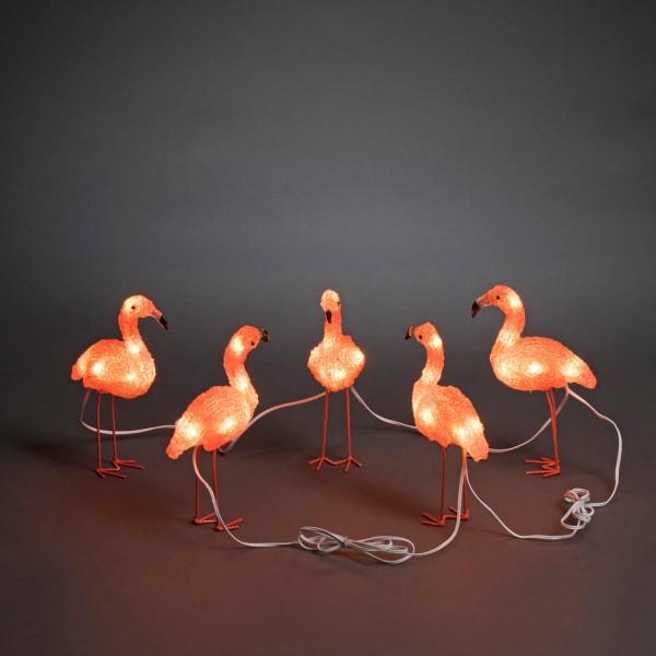 Konstsmide 6267-803 | LED Acryl Flamingos 5-er Set | 40 bernsteinfarbene LEDs