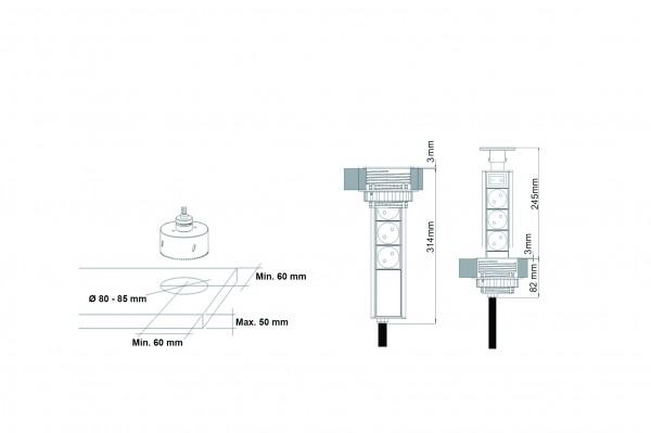 Steckdosenturm versenkbar mit 3 Steckdosen