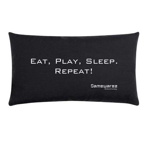 "Gamewarez Gaming Kissen ""Eat, Play, Sleep. Repeat!"", schwarz, 30x50cm"