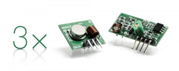 LED Universum 4250699226984 3er Pack-433 MHz Funk und Sendemodul, Leiterplatten Grün