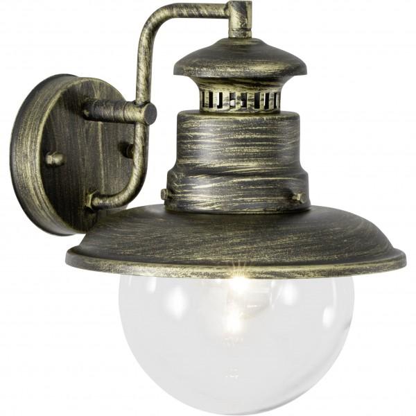 Brilliant 96128/86 Artu Außenwandleuchte, hängend Metall/Glas schwarz gold