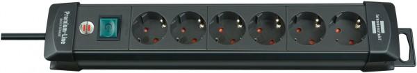 Brennenstuhl Premium-Line, Steckdosenleiste 6-fach (Steckerleiste mit Schalter und 3m Kabel - 45° Wi