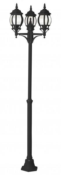 Brilliant 48688/06 Istria Außenstandleuchte, 3-flammig Aluminium-Druckguss/Glas schwarz